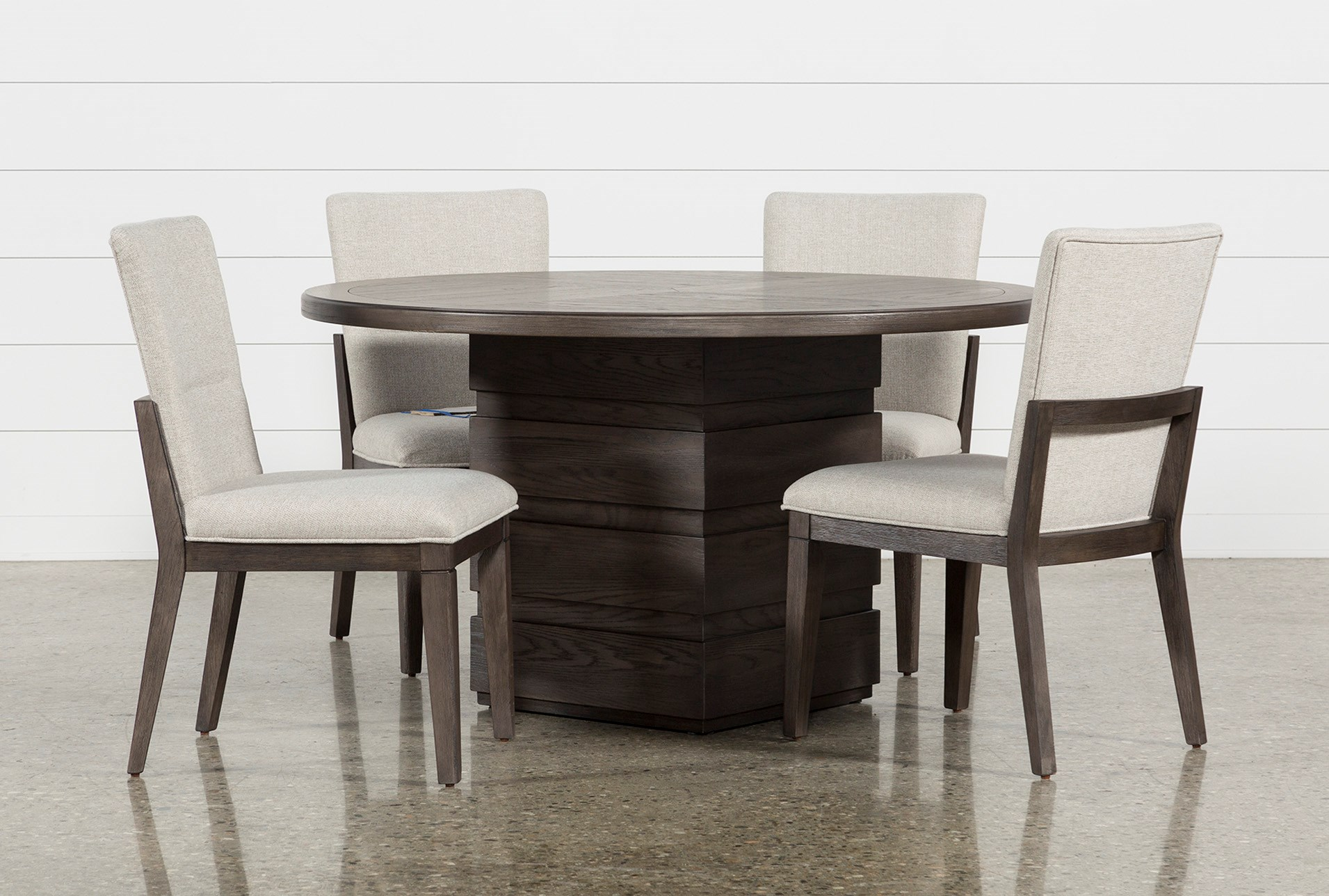 Helms 5 Piece Round Dining Set With Side Chairs Living Spaces