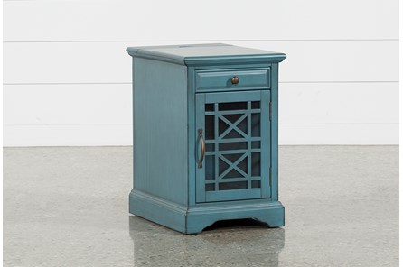 Annabelle Antique Blue Power Chairside Table - Main