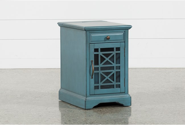 Annabelle Antique Blue Power Chairside Table - 360 - Annabelle Antique Blue Power Chairside Table Living Spaces
