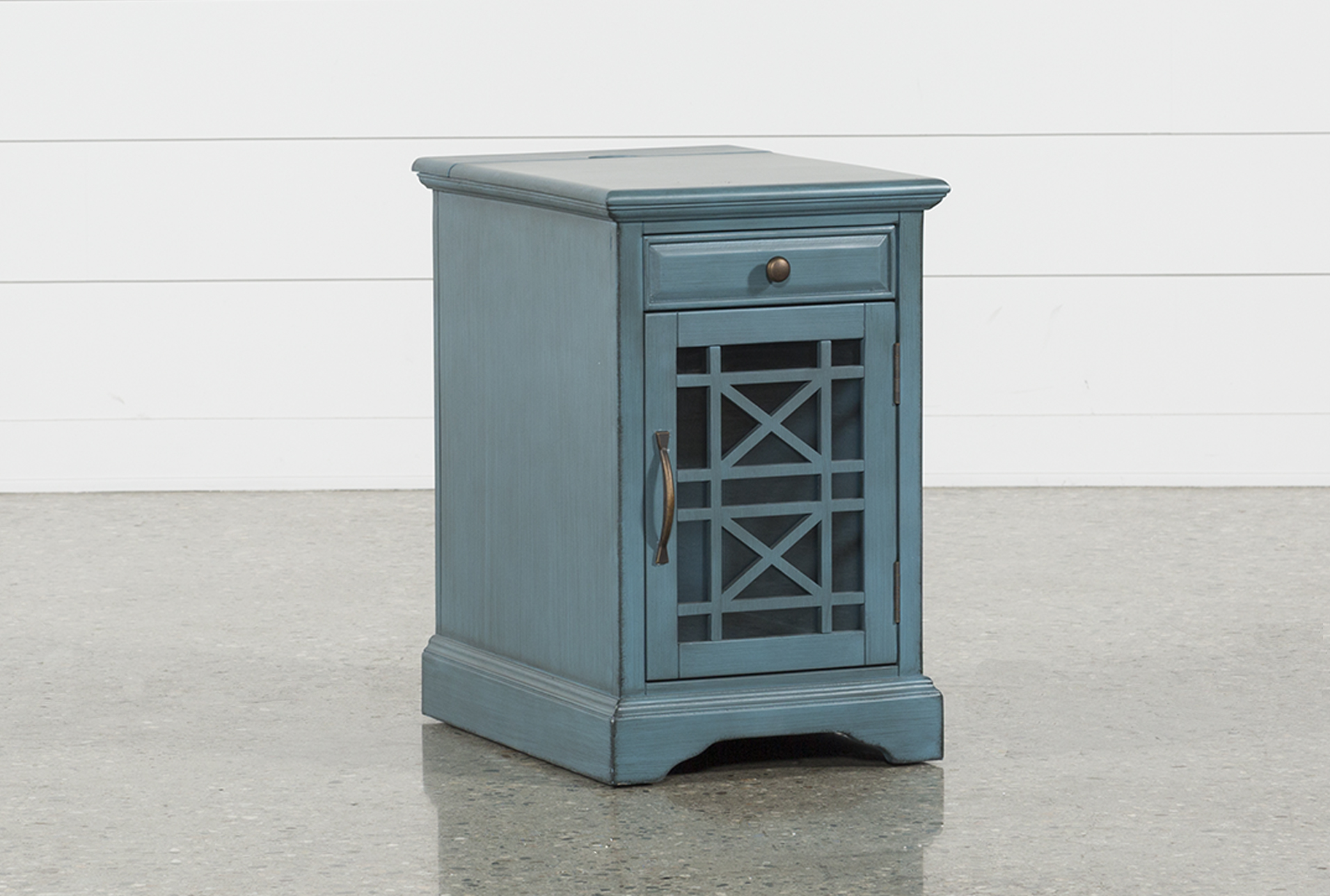 Annabelle Antique Blue Power Chairside Table   360