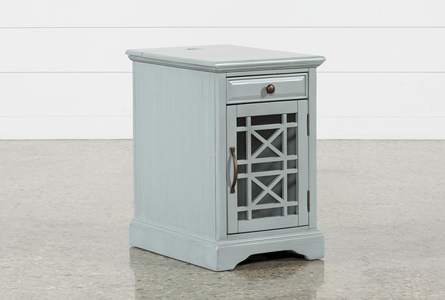 Annabelle Earl Grey Power Chairside Table - 360