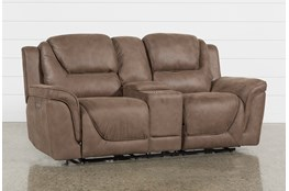Denver Fawn Power Reclining Console Loveseat With Power Headrest