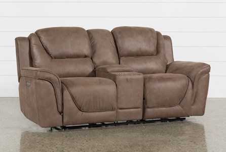 Denver Power Reclining Console Loveseat With Power Headrest, Ac & Usb