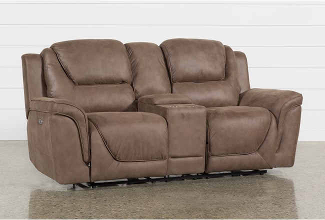 Denver Fawn Power Reclining Console Loveseat With Power Headrest - 360