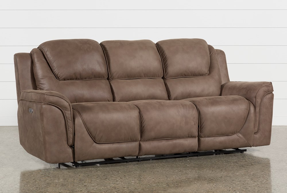 Denver Fawn Power Reclining Sofa With Power Headrest & Usb