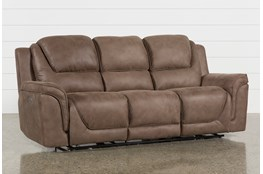 Calder Brown Power Reclining Sofa Living Spaces