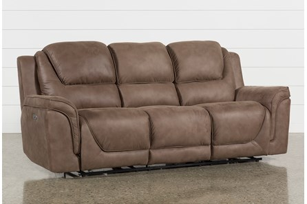 Denver Fawn Power Reclining Sofa With Power Headrest & Usb
