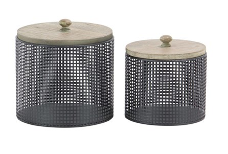 Black Metal And Wood Canister Set Of 2