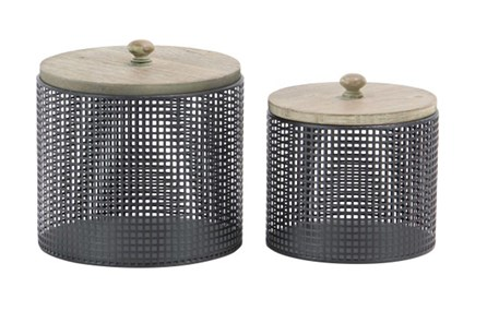 Black Metal And Wood Canister Set Of 2 - Main