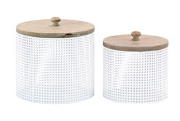 White Metal And Wood Canister Set Of 2