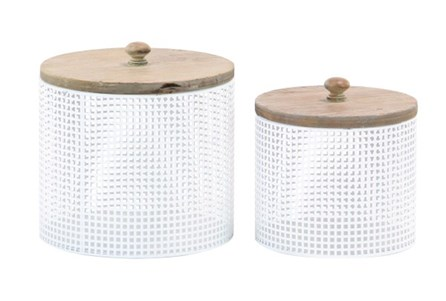 White Metal And Wood Canister Set Of 2 - Main