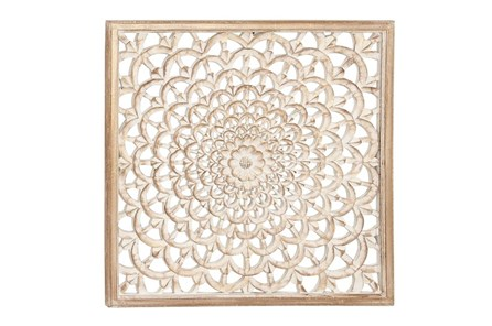Square Wood Carved Wall Decor - Main