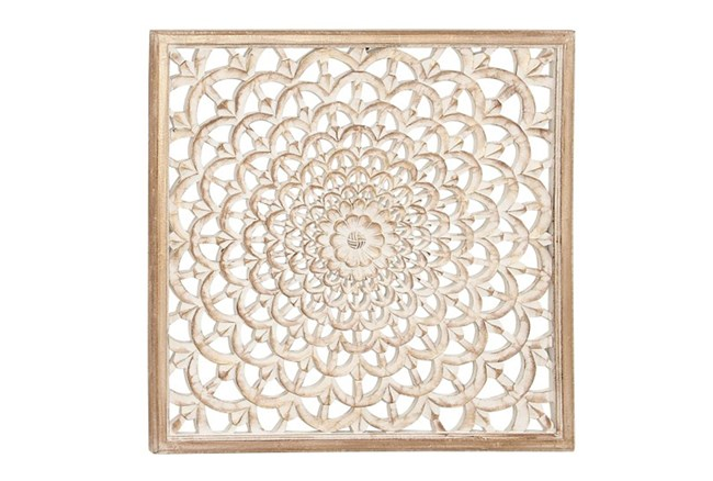 Square Wood Carved Wall Decor - 360