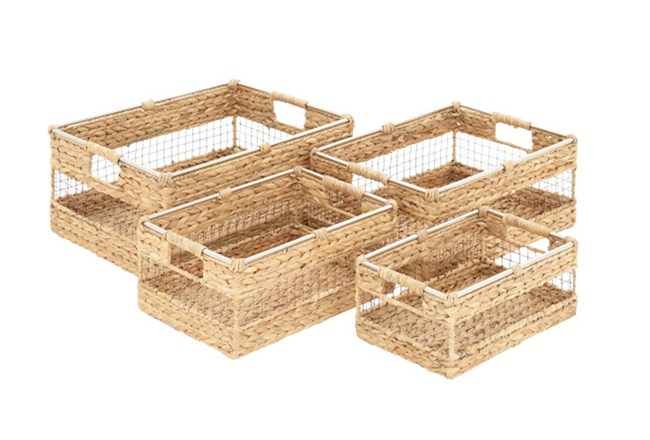 Square Woven Baskets Assorted Set Of 4 - 360