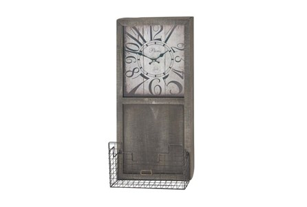 14X32 Wood Clock With Basket