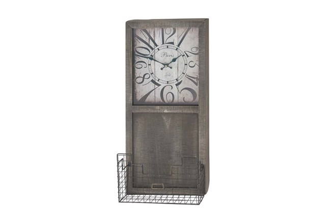 14X32 Wood Clock With Basket - 360