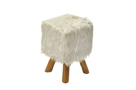 Youth-Square Faux Fur Stool - Main