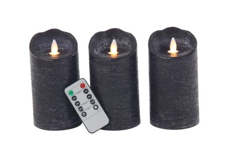 Grey Led Flicker Candle Set Of 3