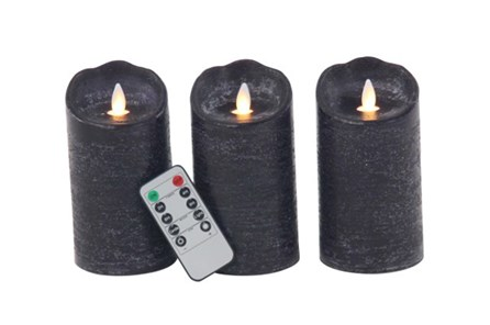 Grey Led Flicker Candle Set Of 3 - Main
