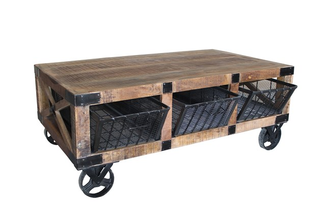Iron Wood Coffee Table With Wheels - 360