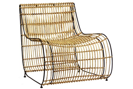 Iron Rattan Accent Chair