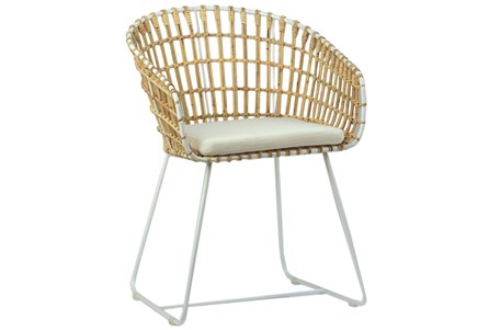 Iron Rattan Accent Chair With White Legs