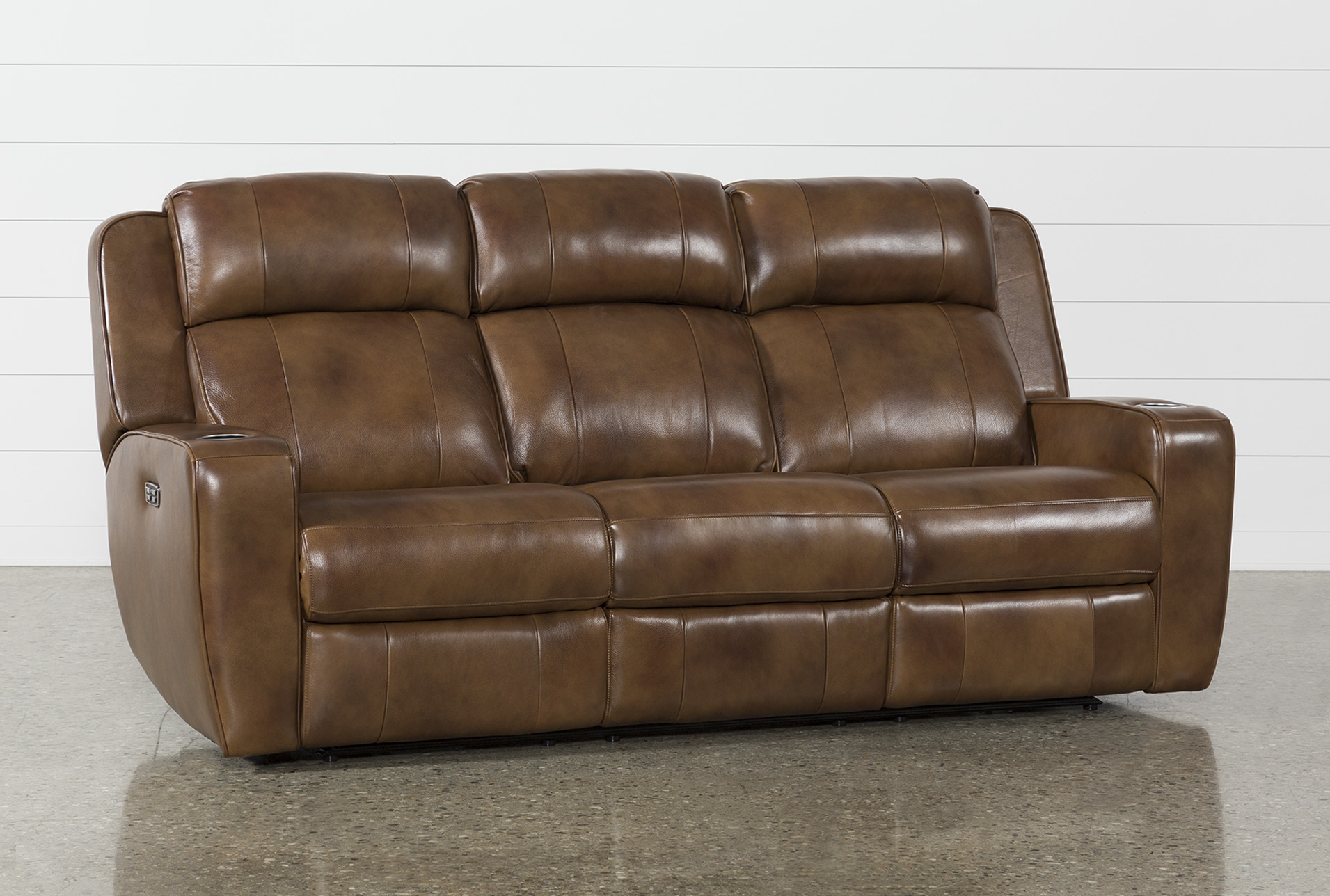 phelps leather power reclining sofa w power headrest usb living rh livingspaces com leather power reclining sofa with console leather power reclining sofa and loveseat