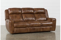 """Phelps Leather 87"""" Power Reclining Sofa With Power Headrest & USB"""
