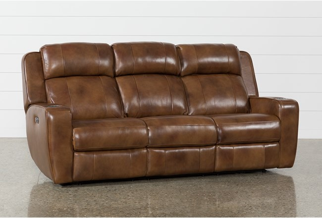 """Phelps Leather 87"""" Power Reclining Sofa With Power Headrest & USB - 360"""