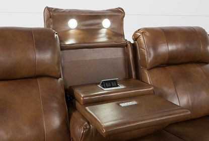 Amazing Phelps Leather Power Reclining Sofa With Power Headrest Usb Bralicious Painted Fabric Chair Ideas Braliciousco