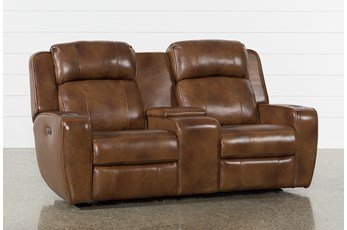 "Phelps Leather 76"" Power Reclining Console Loveseat With Power Headrest & USB"