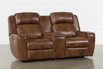 """Phelps Leather 76"""" Power Reclining Console Loveseat With Power Headrest & USB"""