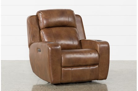 Phelps Leather Power Wallaway Recliner With Power Headrest & USB