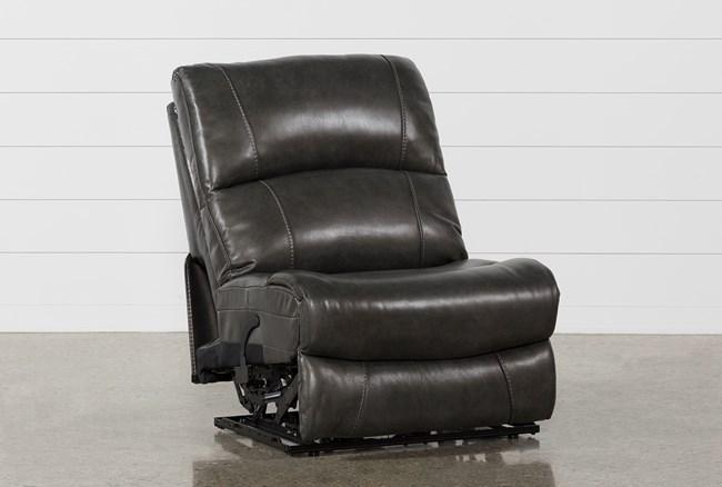 Travis Dark Grey Leather Armless Power Recliner - 360