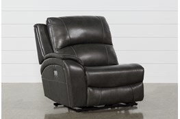 Travis Dark Grey Leather Laf Power Recliner W/Power Headrest And Usb