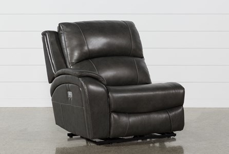 Travis Dark Grey Leather Left Facing Power Recliner W/Power Headrest And Usb