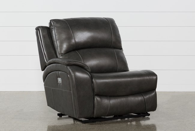 Travis Dark Grey Leather Left Facing Power Recliner W/Power Headrest And Usb - 360