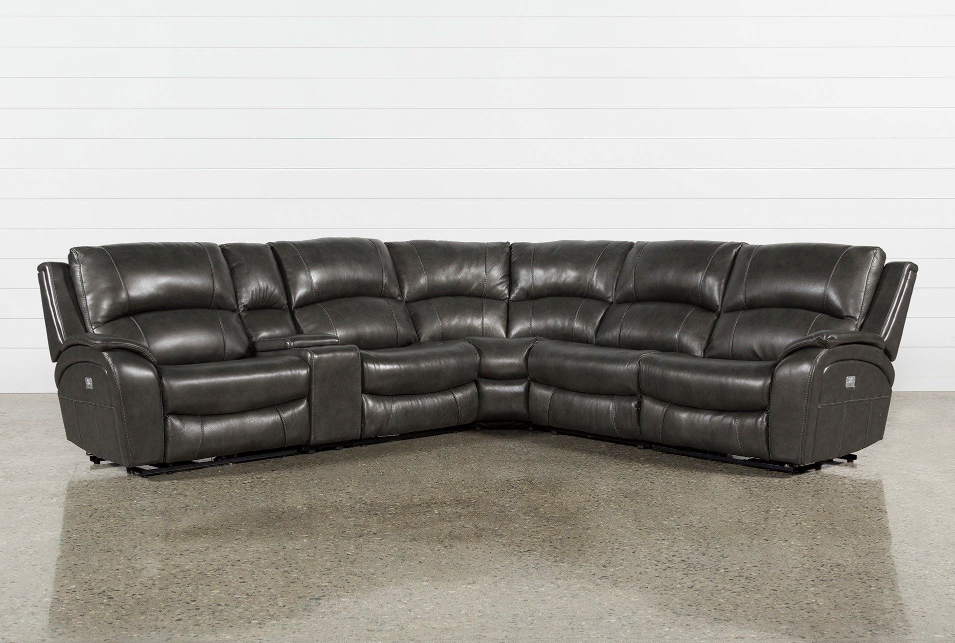 Travis Dk Grey Leather 6 Piece Power Reclining Sectional W/Pwr Hdrst ...