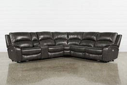 Travis Dk Grey Leather 6 Piece Power Reclining Sectional W/Pwr Hdrst & Usb