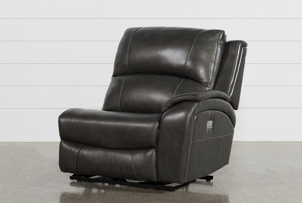 Travis Dark Grey Leather Right Arm Facing Power Recliner W/Power Headrest And Usb