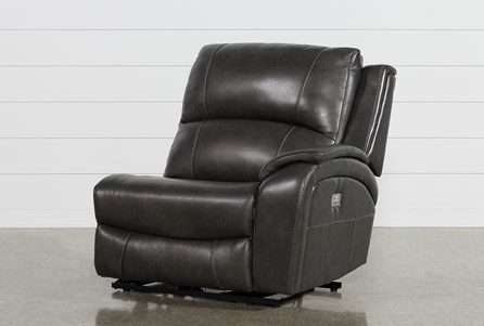 Travis Dark Grey Leather Right Facing Power Recliner W/Power Headrest And Usb