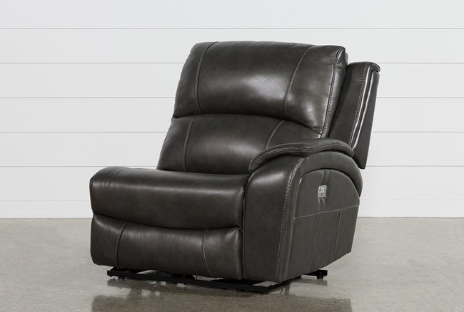 Travis Dark Grey Leather Right Facing Power Recliner W/Power Headrest And Usb - 360
