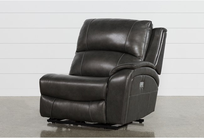 Travis Dark Grey Leather Right Arm Facing Power Recliner W/Power Headrest And Usb - 360