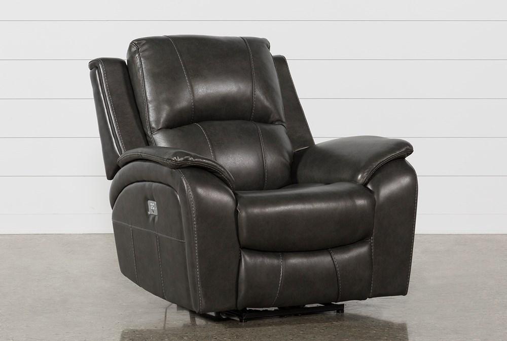 Travis Dark Grey Leather Power Recliner W/Power Headrest And Usb