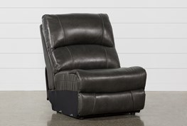 Travis Dark Grey Leather Armless Chair