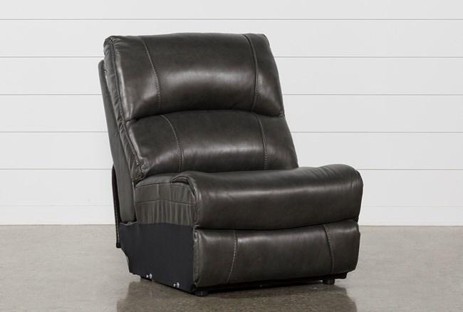Travis Dark Grey Leather Armless Chair - 360