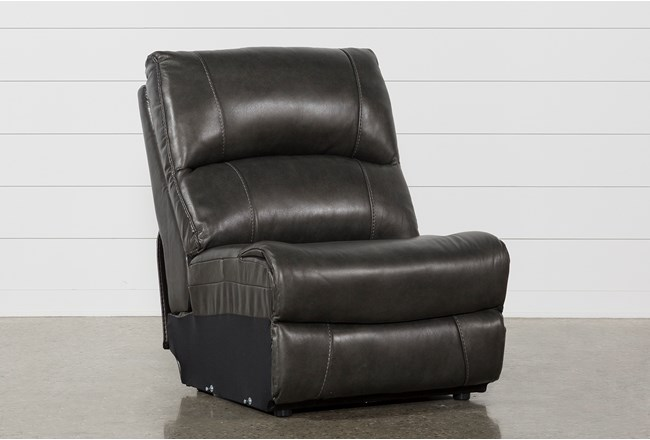 Travis Dark Grey Leather Armless Chair - 360