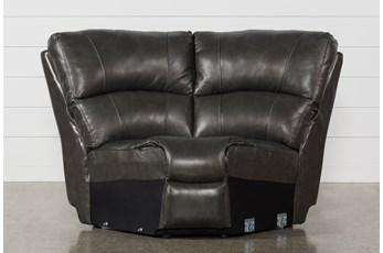 Travis Dark Grey Leather Corner Wedge