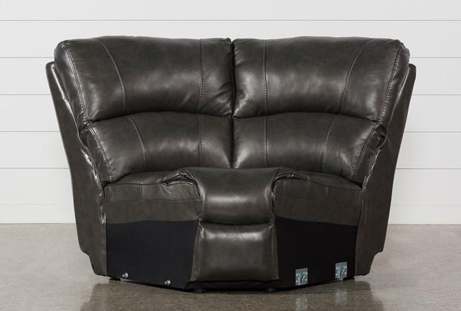 Travis Dark Grey Leather Corner Wedge - 360