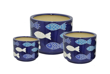 3 Piece Set Blue Fish Ceramic Planter